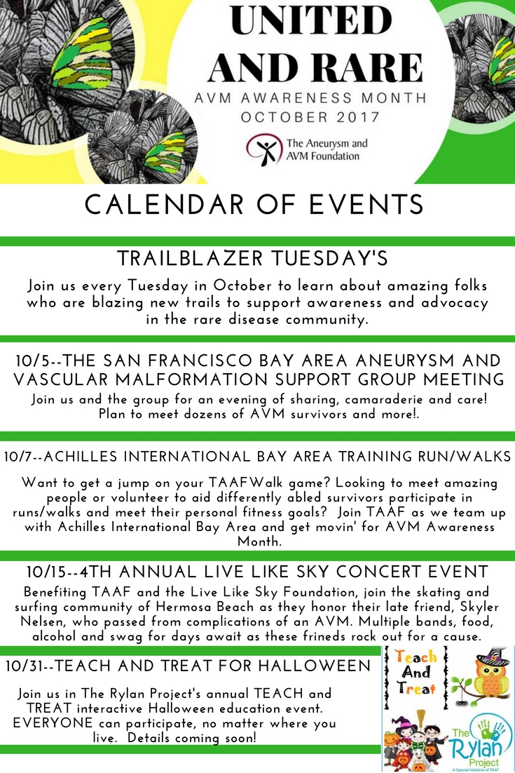 AVM Awareness Month Calendar of Events
